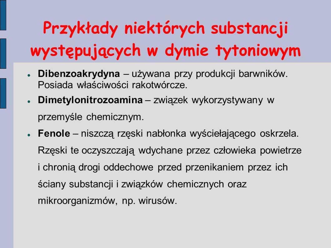 Przykłady niektórych substancji występujących w dymie tytoniowym