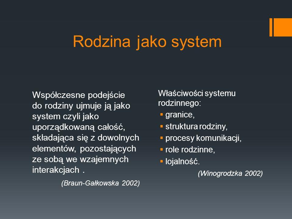 Rodzina jako system Właściwości systemu rodzinnego: granice, struktura rodziny, procesy komunikacji,