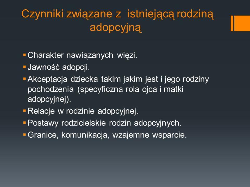 Czynniki związane z istniejącą rodziną adopcyjną