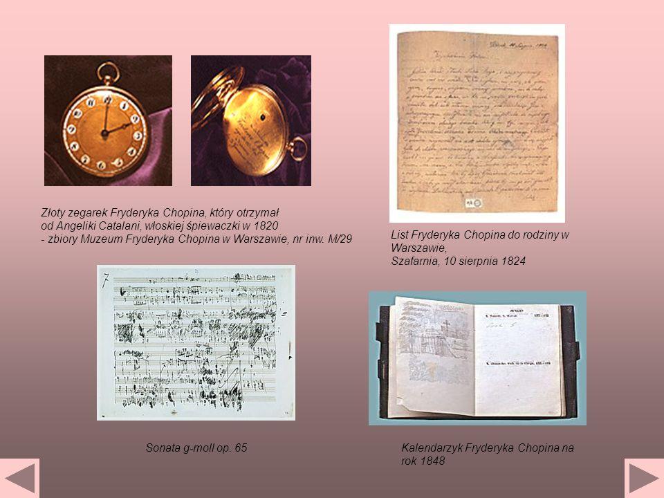 Złoty zegarek Fryderyka Chopina, który otrzymał od Angeliki Catalani, włoskiej śpiewaczki w 1820 - zbiory Muzeum Fryderyka Chopina w Warszawie, nr inw. M/29