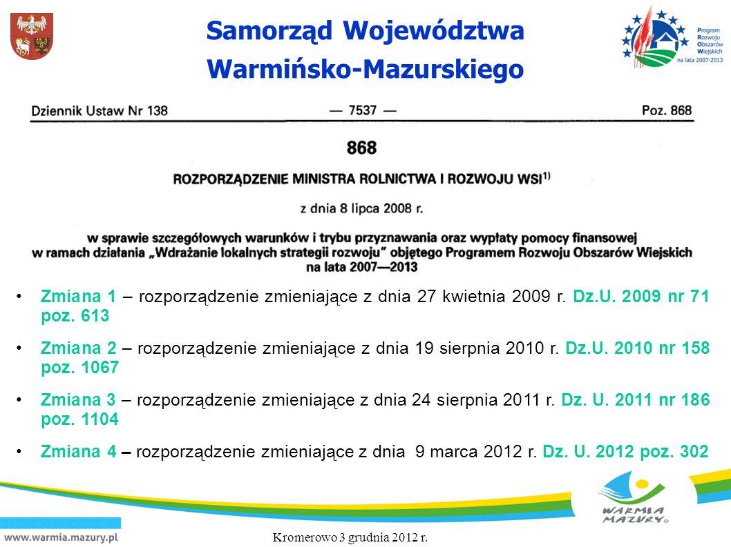 Zmiana 1 – rozporządzenie zmieniające z dnia 27 kwietnia 2009 r. Dz. U