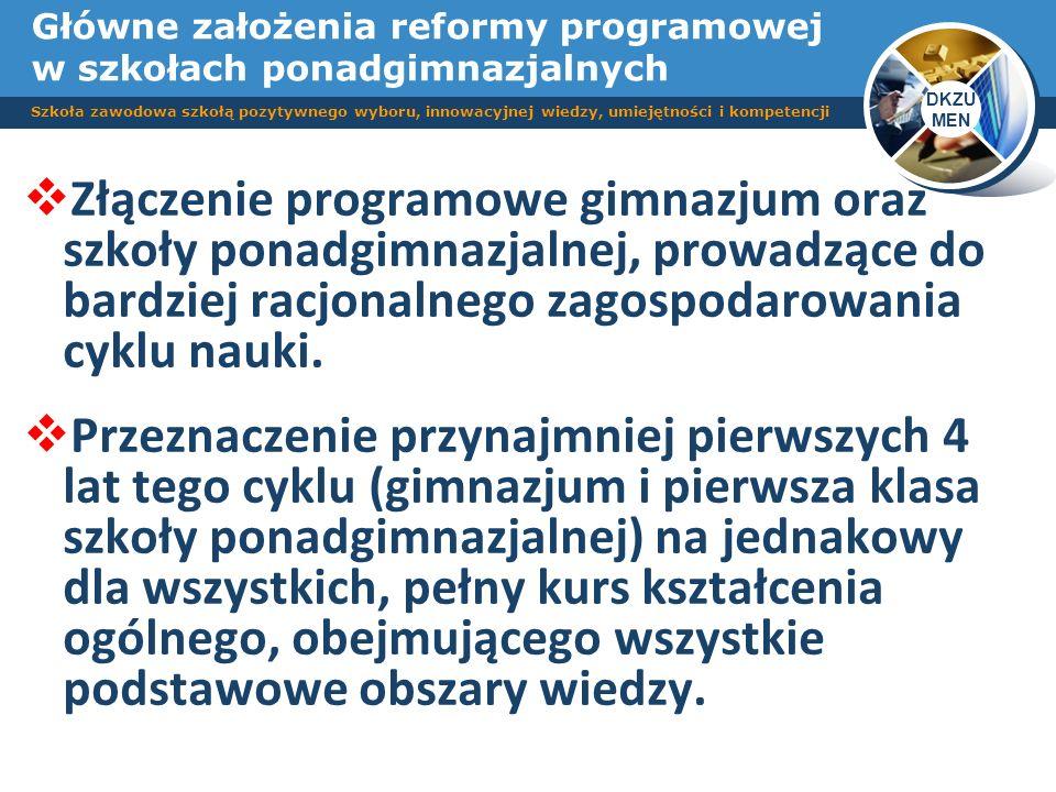 Główne założenia reformy programowej w szkołach ponadgimnazjalnych