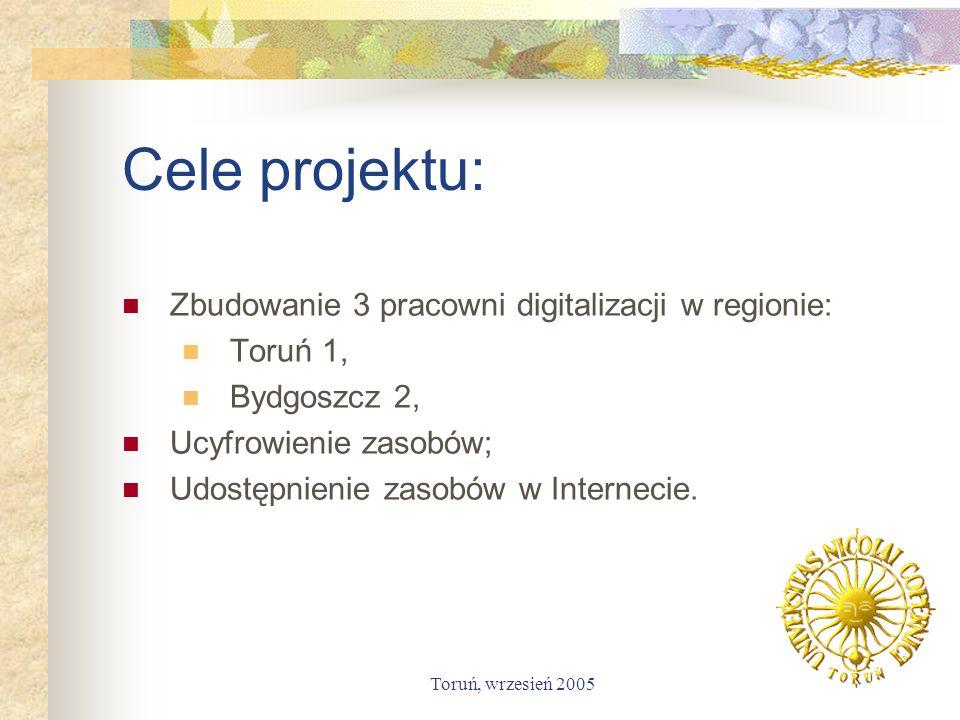 Cele projektu: Zbudowanie 3 pracowni digitalizacji w regionie: