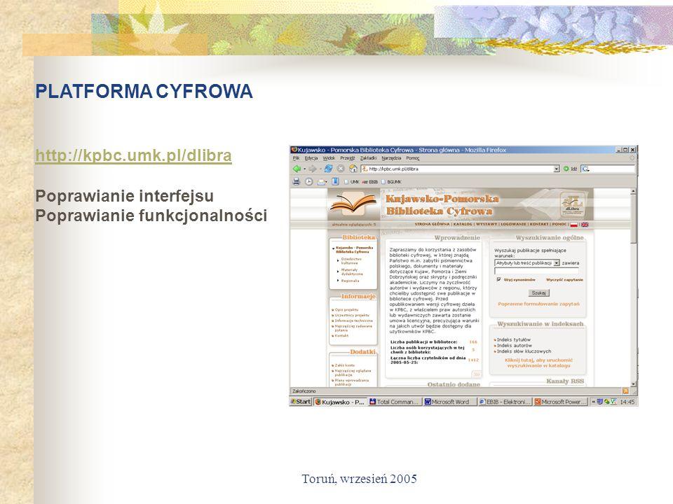 PLATFORMA CYFROWA http://kpbc.umk.pl/dlibra Poprawianie interfejsu