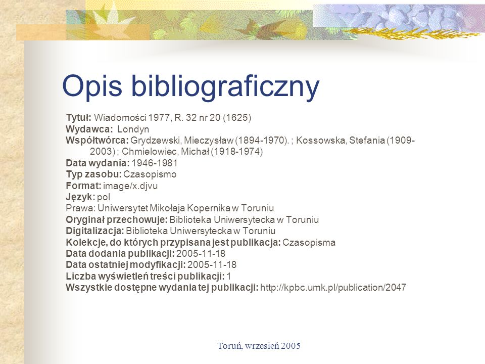 Opis bibliograficzny Tytuł: Wiadomości 1977, R. 32 nr 20 (1625)