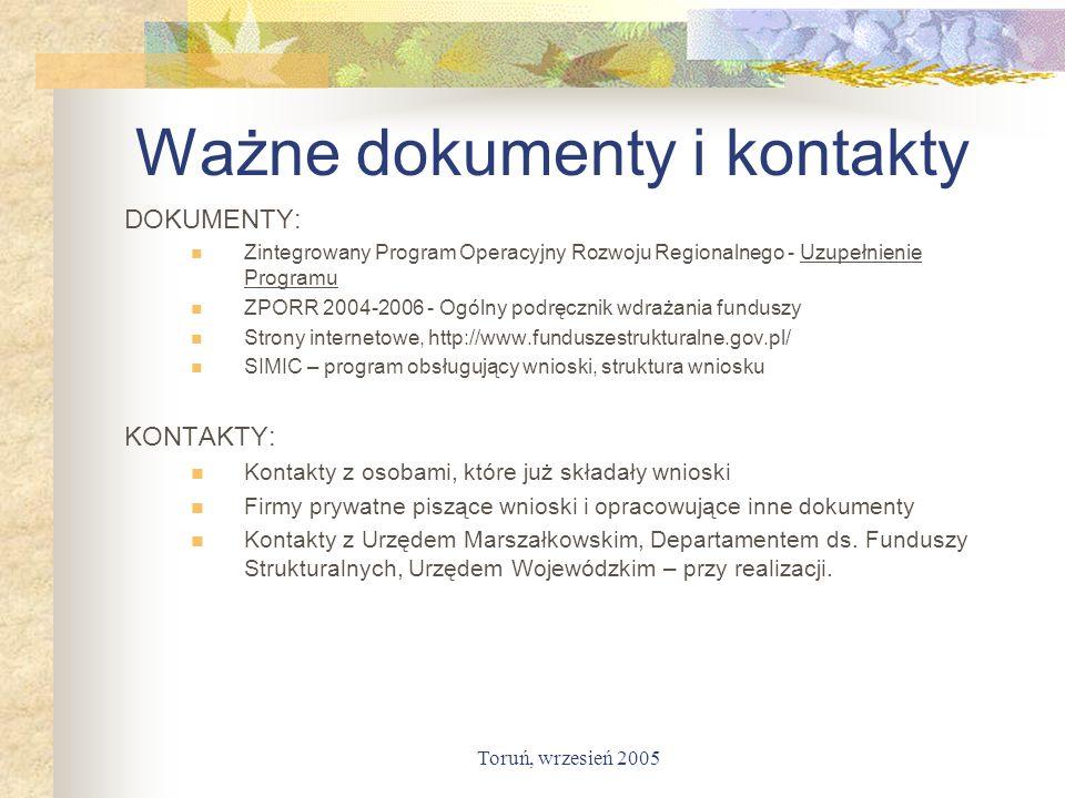 Ważne dokumenty i kontakty