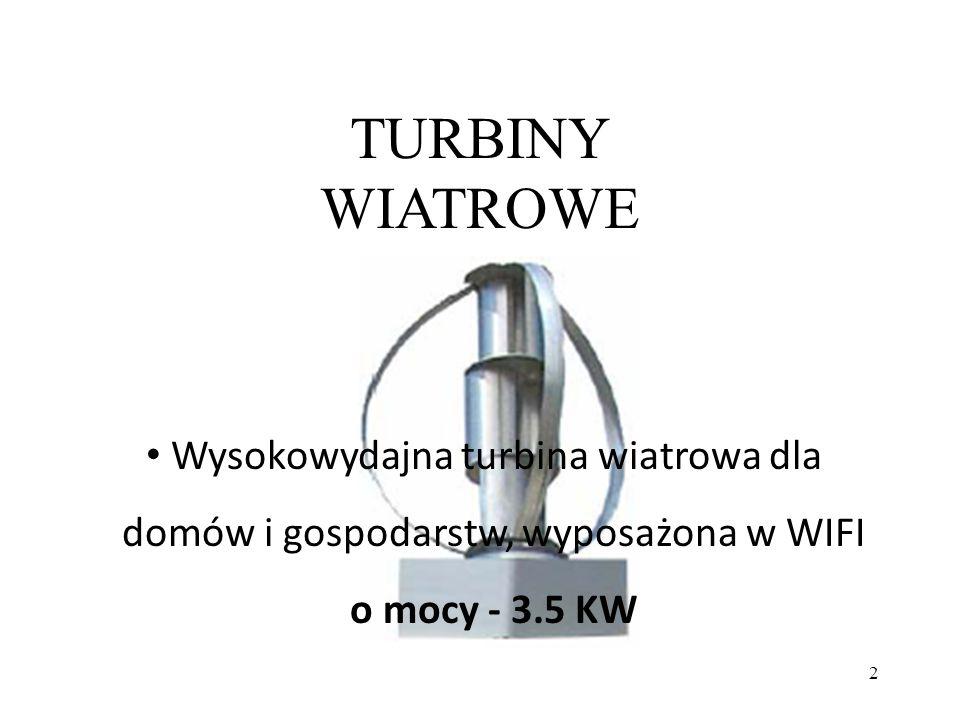 TURBINY WIATROWE Wysokowydajna turbina wiatrowa dla