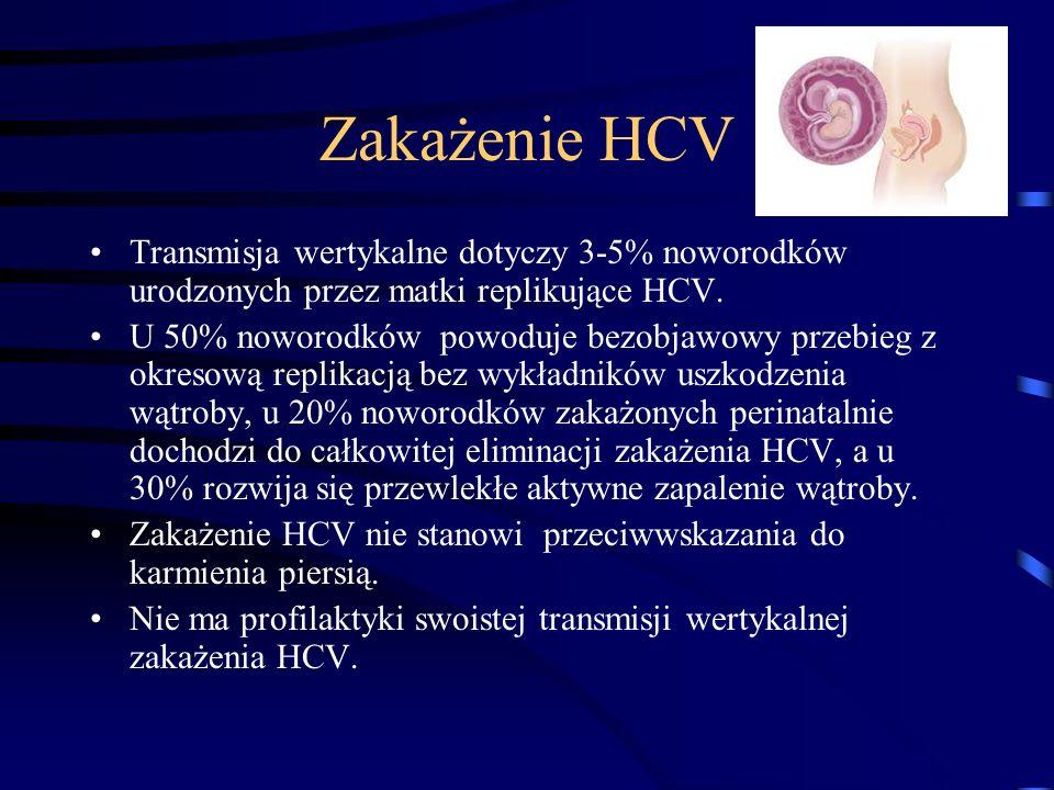 Zakażenie HCVTransmisja wertykalne dotyczy 3-5% noworodków urodzonych przez matki replikujące HCV.