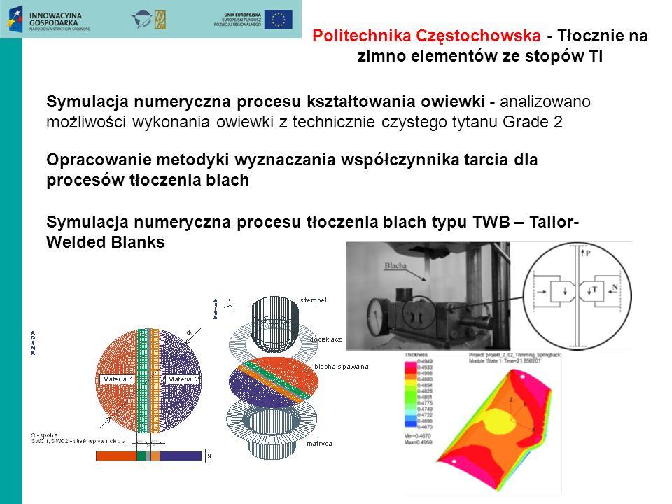 Politechnika Częstochowska - Tłocznie na zimno elementów ze stopów Ti