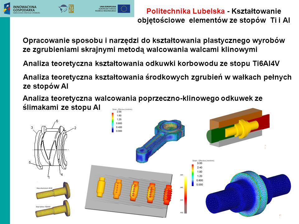 Politechnika Lubelska - Kształtowanie objętościowe elementów ze stopów Ti i Al
