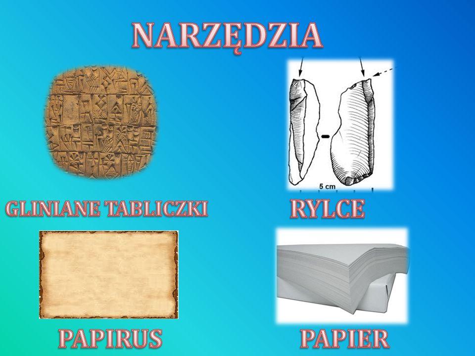 NARZĘDZIA RYLCE GLINIANE TABLICZKI PAPIRUS PAPIER