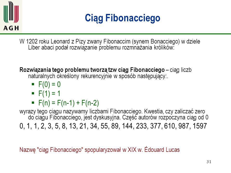 Ciąg Fibonacciego F(0) = 0 F(1) = 1 F(n) = F(n-1) + F(n-2)