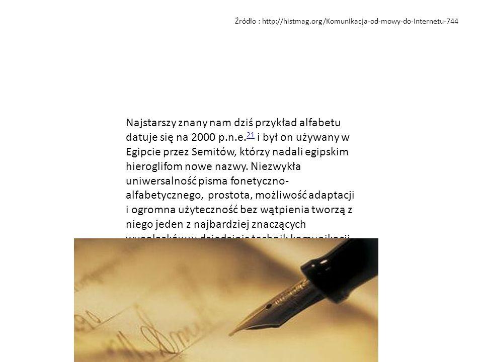 Źródło : http://histmag.org/Komunikacja-od-mowy-do-Internetu-744