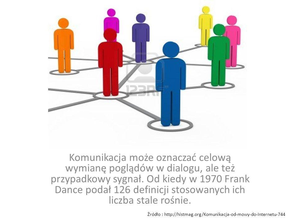 Komunikacja może oznaczać celową wymianę poglądów w dialogu, ale też przypadkowy sygnał. Od kiedy w 1970 Frank Dance podał 126 definicji stosowanych ich liczba stale rośnie.