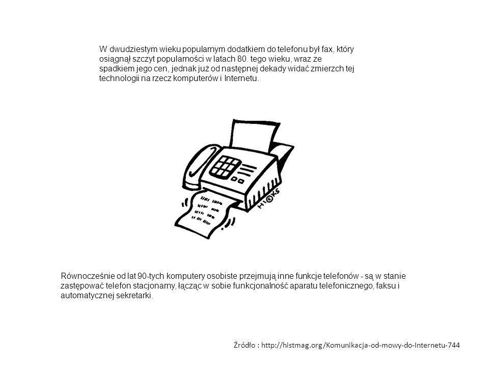 W dwudziestym wieku popularnym dodatkiem do telefonu był fax, który osiągnął szczyt popularności w latach 80. tego wieku, wraz ze spadkiem jego cen, jednak już od następnej dekady widać zmierzch tej technologii na rzecz komputerów i Internetu.