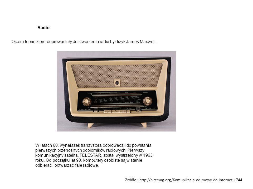 Radio Ojcem teorii, które doprowadziły do stworzenia radia był fizyk James Maxwell.