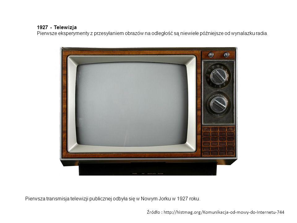 1927 - Telewizja Pierwsze eksperymenty z przesyłaniem obrazów na odległość są niewiele późniejsze od wynalazku radia.