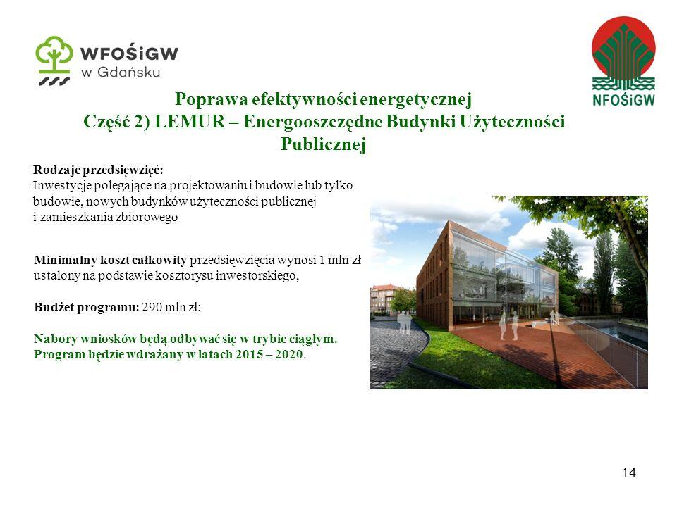 Poprawa efektywności energetycznej Część 2) LEMUR – Energooszczędne Budynki Użyteczności Publicznej