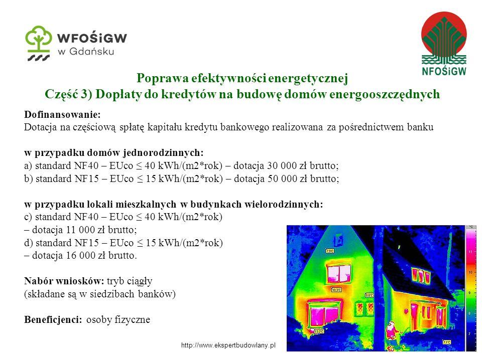 Poprawa efektywności energetycznej Część 3) Dopłaty do kredytów na budowę domów energooszczędnych