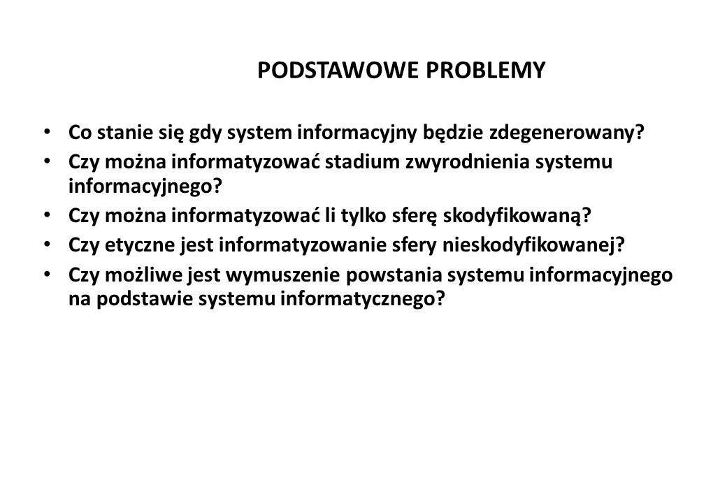 PODSTAWOWE PROBLEMY Co stanie się gdy system informacyjny będzie zdegenerowany