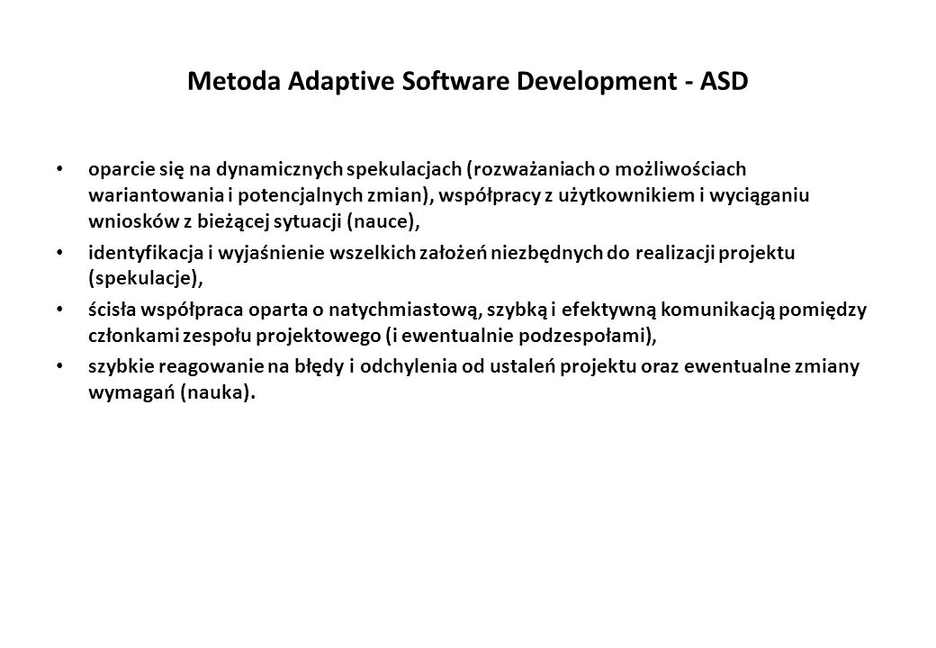 Metoda Adaptive Software Development - ASD