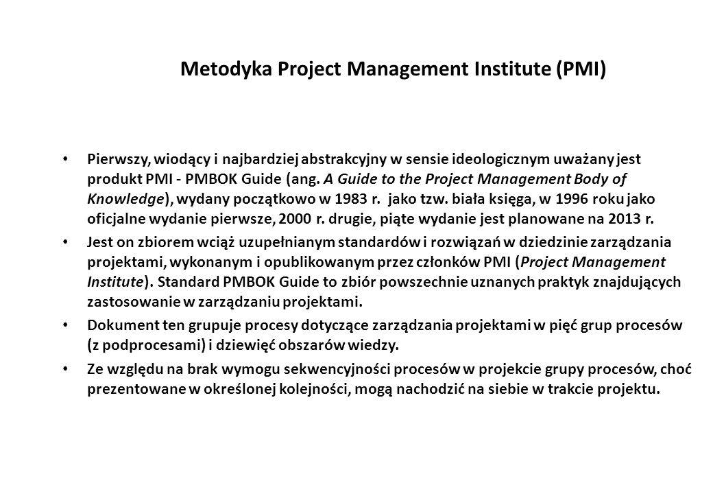 Metodyka Project Management Institute (PMI)