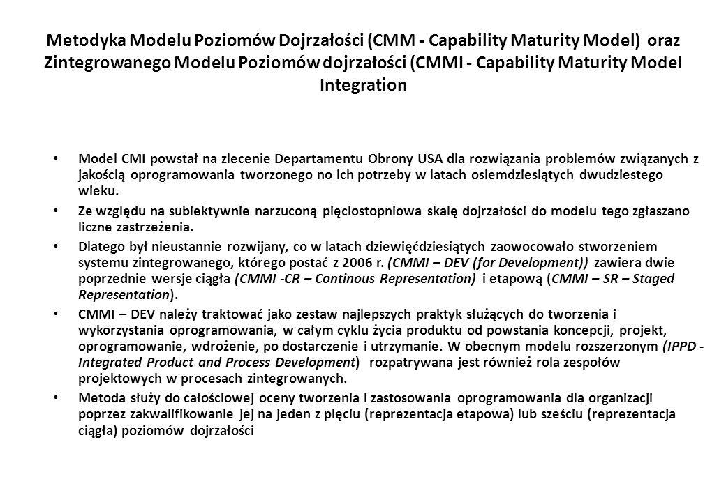 Metodyka Modelu Poziomów Dojrzałości (CMM - Capability Maturity Model) oraz Zintegrowanego Modelu Poziomów dojrzałości (CMMI - Capability Maturity Model Integration