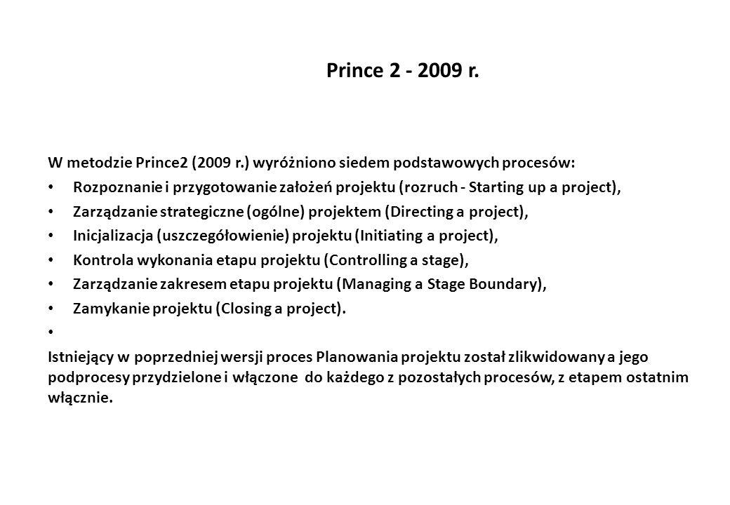 Prince 2 - 2009 r. W metodzie Prince2 (2009 r.) wyróżniono siedem podstawowych procesów: