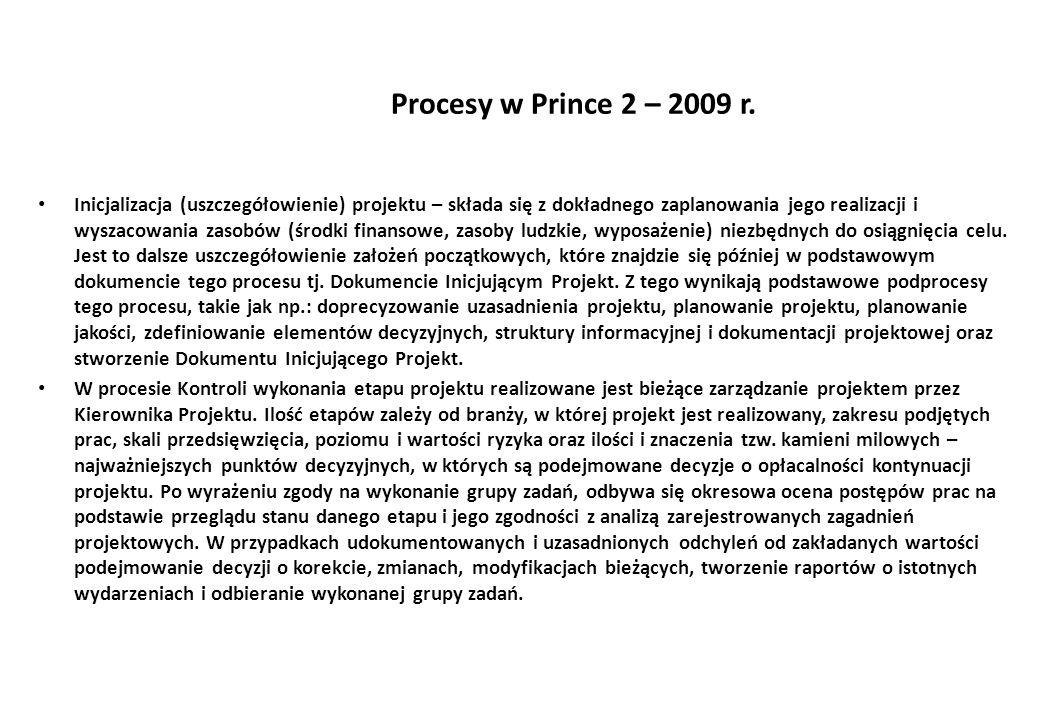Procesy w Prince 2 – 2009 r.