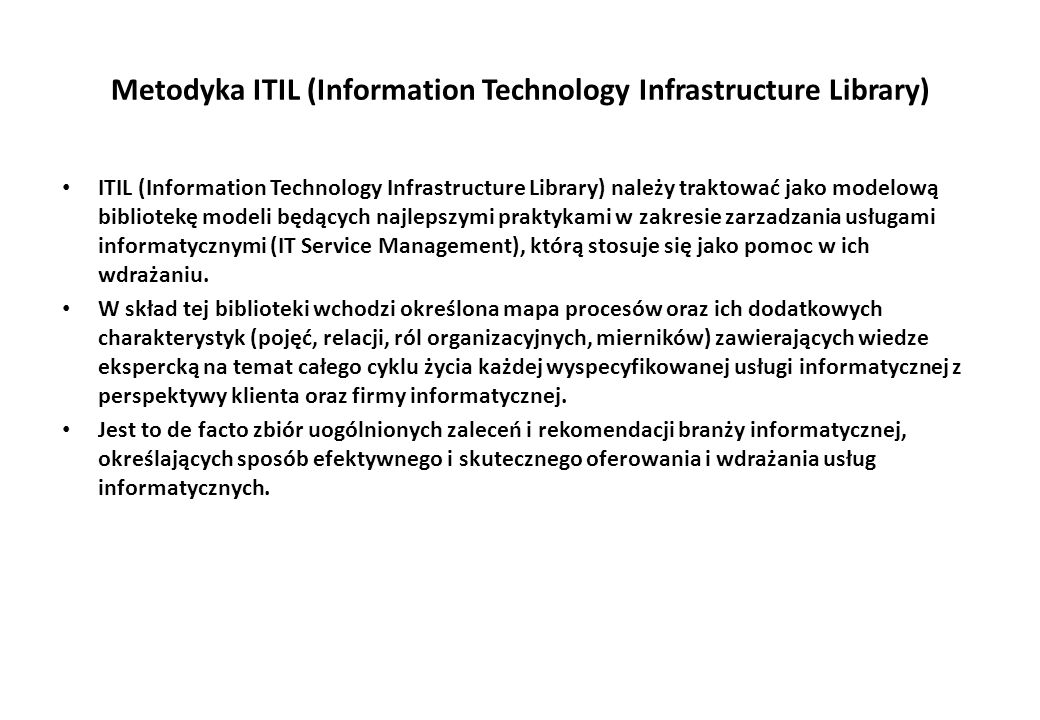 Metodyka ITIL (Information Technology Infrastructure Library)