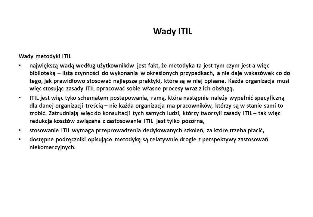 Wady ITIL Wady metodyki ITIL