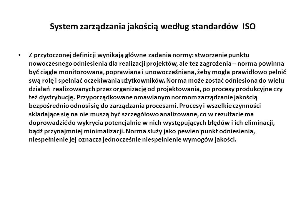 System zarządzania jakością według standardów ISO