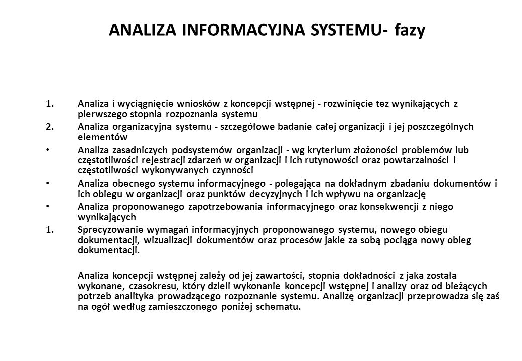 ANALIZA INFORMACYJNA SYSTEMU- fazy