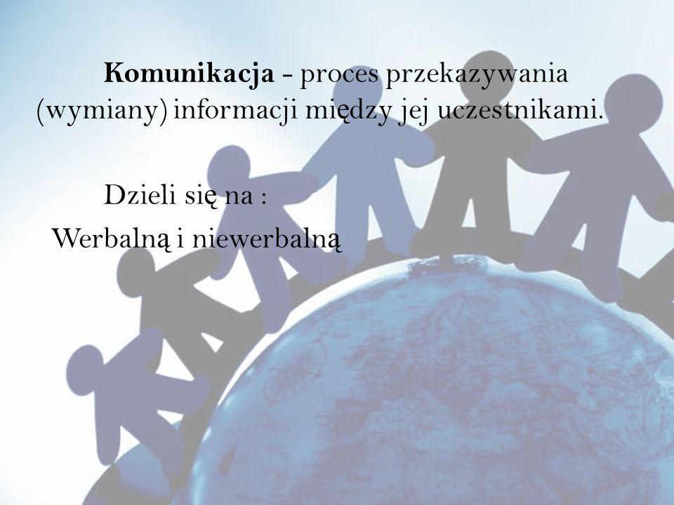 Komunikacja - proces przekazywania (wymiany) informacji między jej uczestnikami.