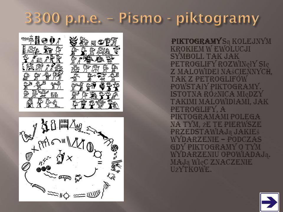 3300 p.n.e. – Pismo - piktogramy