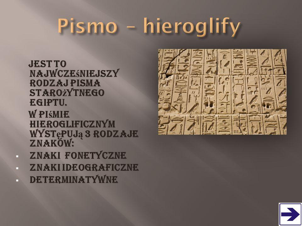 Pismo – hieroglify Jest to najwcześniejszy rodzaj pisma starożytnego Egiptu. W piśmie hieroglificznym występują 3 rodzaje znaków:
