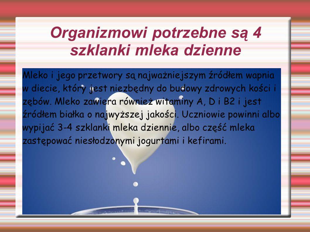 Organizmowi potrzebne są 4 szklanki mleka dzienne