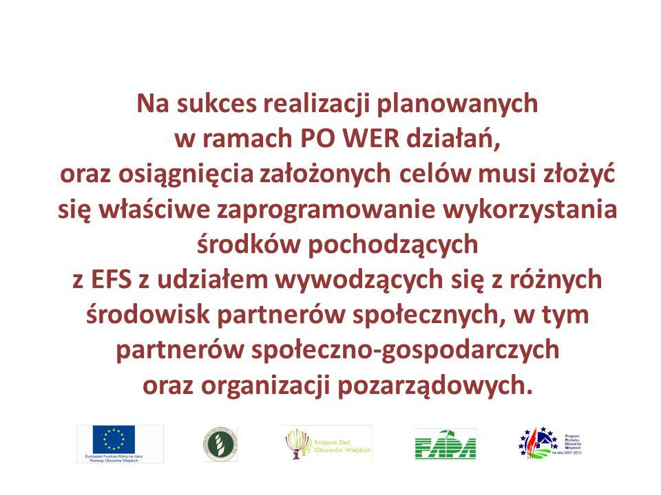 Na sukces realizacji planowanych w ramach PO WER działań, oraz osiągnięcia założonych celów musi złożyć się właściwe zaprogramowanie wykorzystania środków pochodzących z EFS z udziałem wywodzących się z różnych środowisk partnerów społecznych, w tym partnerów społeczno-gospodarczych oraz organizacji pozarządowych.
