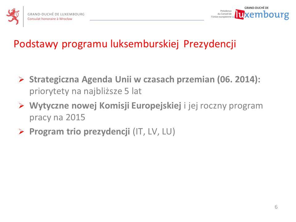 Podstawy programu luksemburskiej Prezydencji