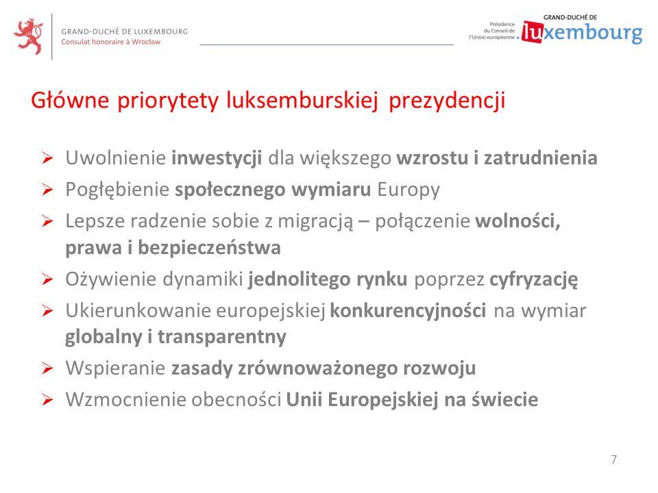 Główne priorytety luksemburskiej prezydencji