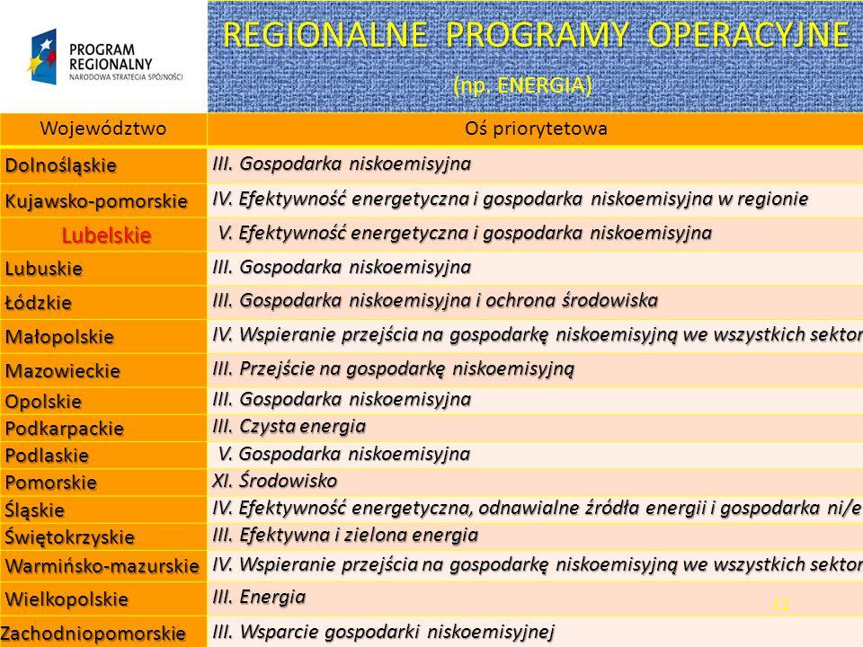 REGIONALNE PROGRAMY OPERACYJNE (np. ENERGIA)