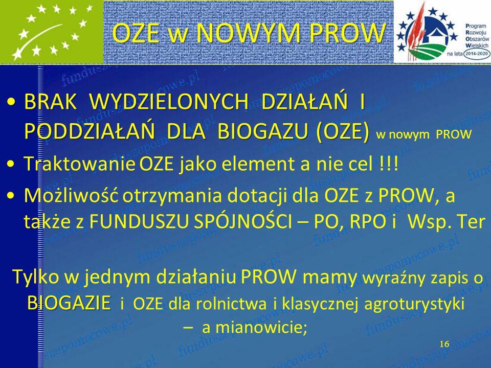 OZE w NOWYM PROW BRAK WYDZIELONYCH DZIAŁAŃ I PODDZIAŁAŃ DLA BIOGAZU (OZE) w nowym PROW. Traktowanie OZE jako element a nie cel !!!