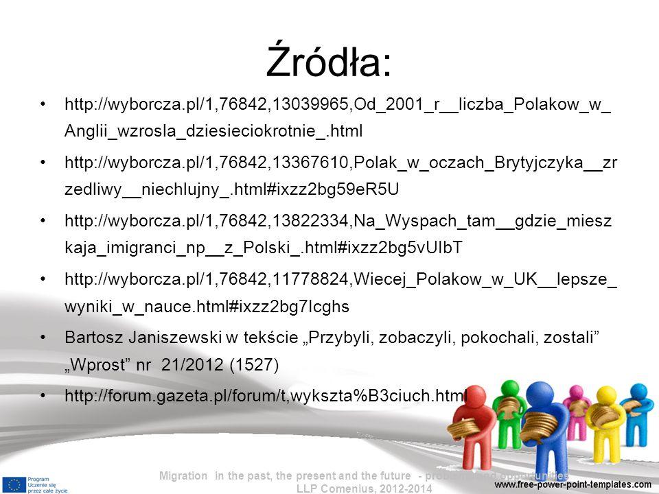 Źródła: http://wyborcza.pl/1,76842,13039965,Od_2001_r__liczba_Polakow_w_Anglii_wzrosla_dziesieciokrotnie_.html.