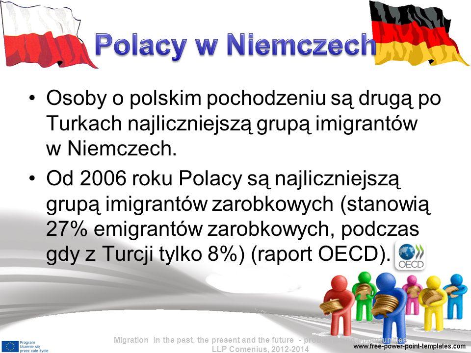 Polacy w Niemczech Osoby o polskim pochodzeniu są drugą po Turkach najliczniejszą grupą imigrantów w Niemczech.
