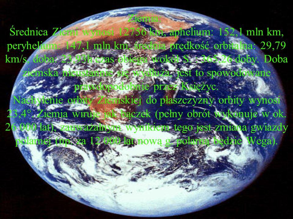 Ziemia: Średnica Ziemi wynosi 12756 km, aphelium: 152,1 mln km, peryhelium: 147,1 mln km, średnia prędkość orbitalna: 29,79 km/s, doba: 23,93h czas obiegu wokół S.