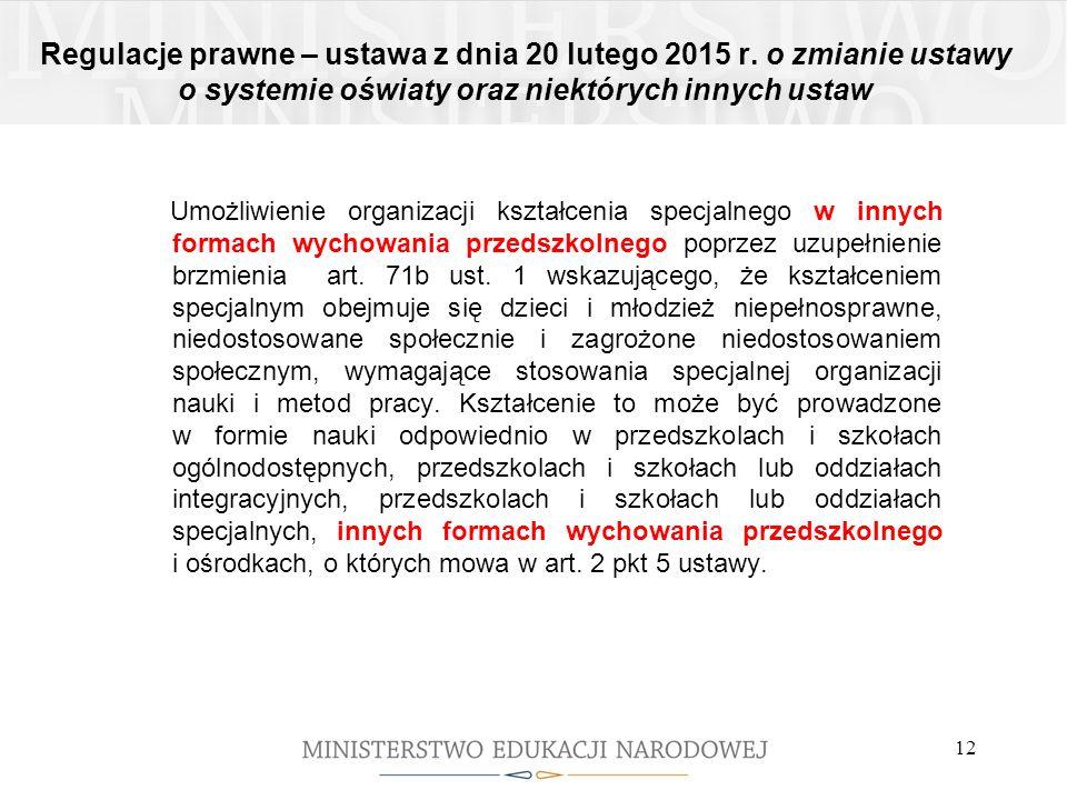 Regulacje prawne – ustawa z dnia 20 lutego 2015 r