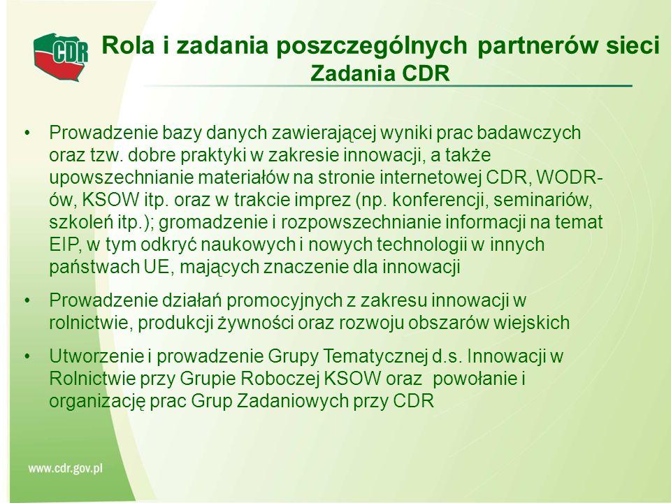 Rola i zadania poszczególnych partnerów sieci Zadania CDR
