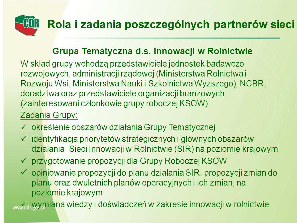 Grupa Tematyczna d.s. Innowacji w Rolnictwie