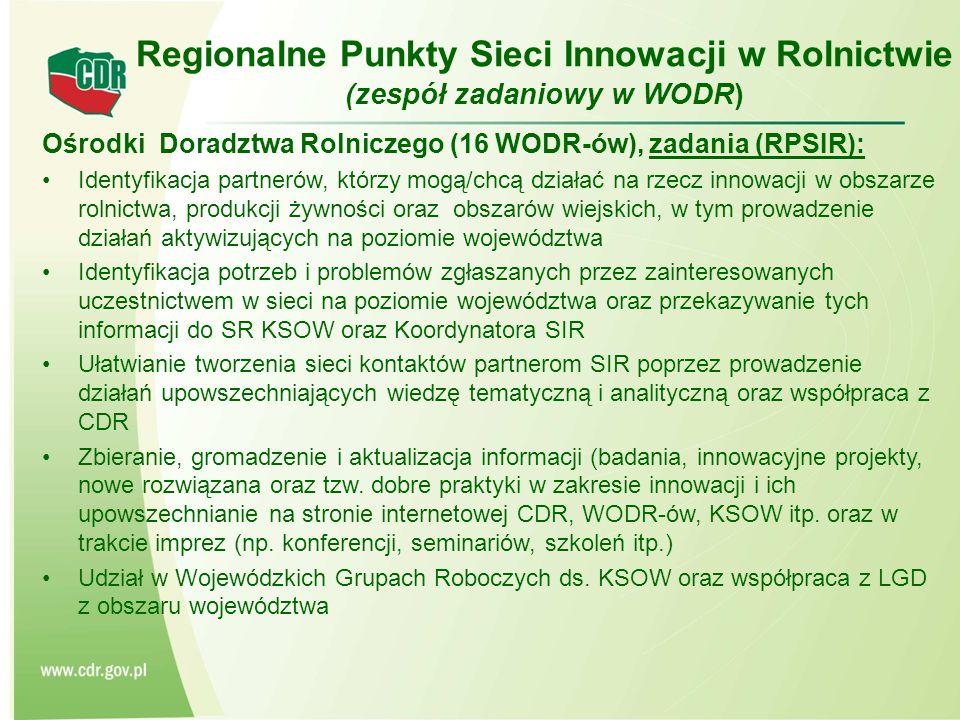 Regionalne Punkty Sieci Innowacji w Rolnictwie (zespół zadaniowy w WODR)