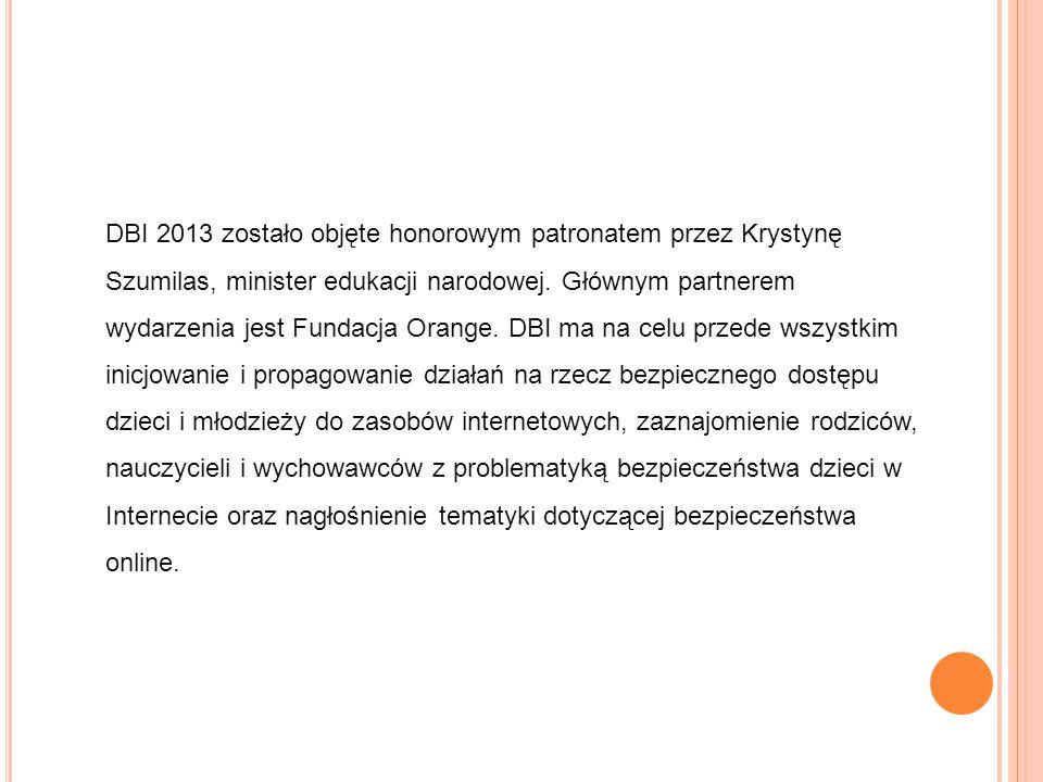 DBI 2013 zostało objęte honorowym patronatem przez Krystynę Szumilas, minister edukacji narodowej.